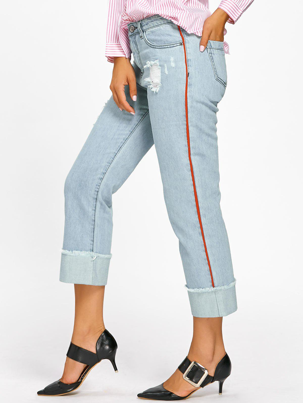 Frayed Faded Cuffed Jeans - LIGHT BLUE XL