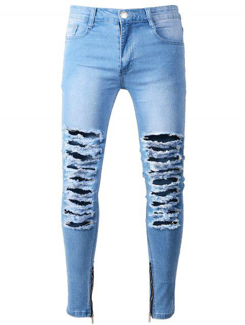 Skinny Zip Hem Jeans with Extreme Rips - LIGHT BLUE 32