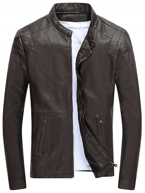 Faux Leather Fleece Zip Up Jacket - COFFEE XL