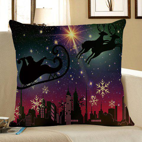 Snow Night Santa Claus Reindeer Cart Linen Pillow Case - COLORFUL W18 INCH * L18 INCH