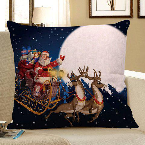Father Christmas and Moon Printed Square Pillow Case - COLORFUL W18 INCH * L18 INCH