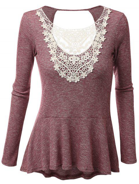 Plus Size Lace Panel Open Back Peplum T-shirt - BRICK RED 3XL