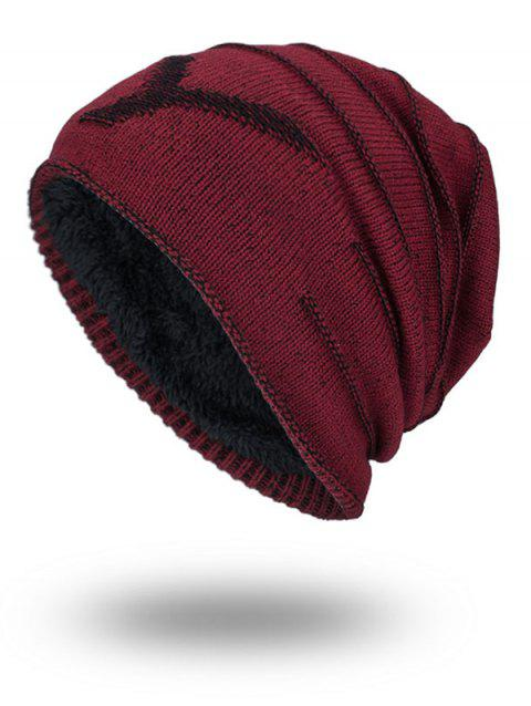 NY Double-Deck Thicken Knit Hat - WINE RED