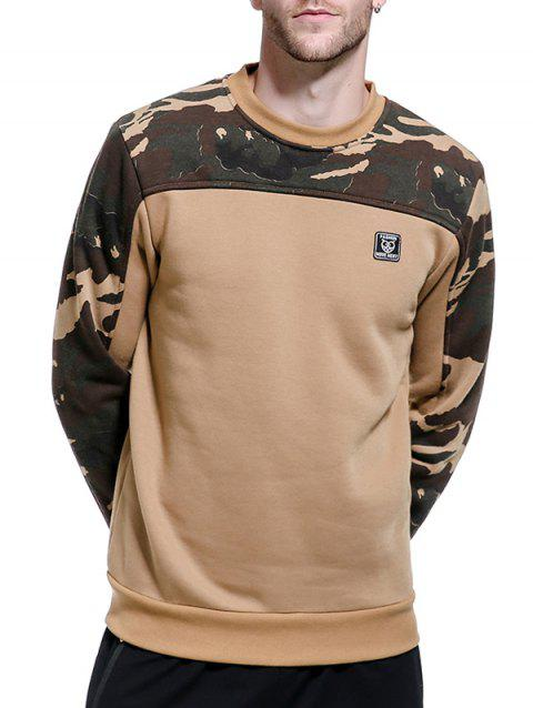 Sweat-shirt Pull-over Panneau Camouflage en Polaire - Kaki 2XL
