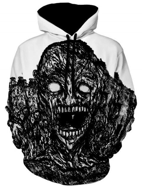 Halloween Skull Print Kangaroo Pocket Hoodie - WHITE 2XL