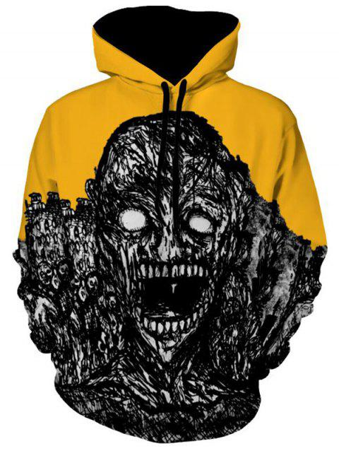 Halloween Skull Print Kangaroo Pocket Hoodie - YELLOW M