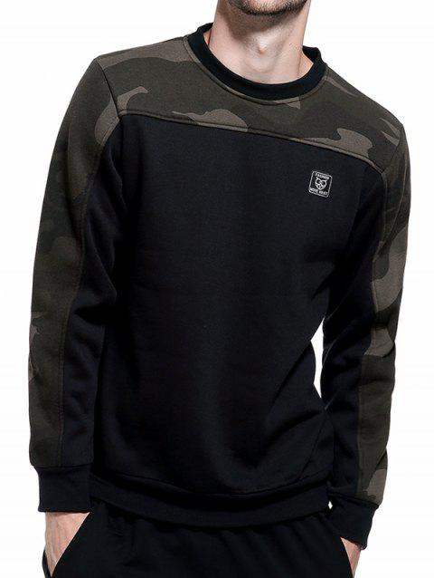 Fleece Camouflage Panel Pullover Sweatshirt - BLACK 2XL