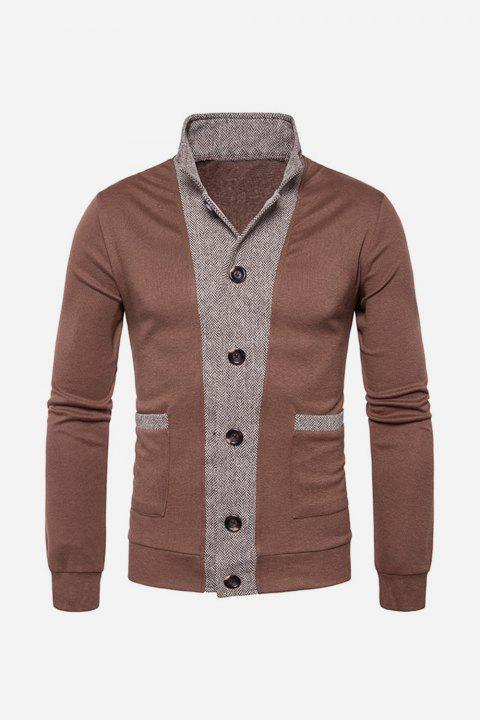 Button Up Color Block Panel Cardigan - COFFEE L