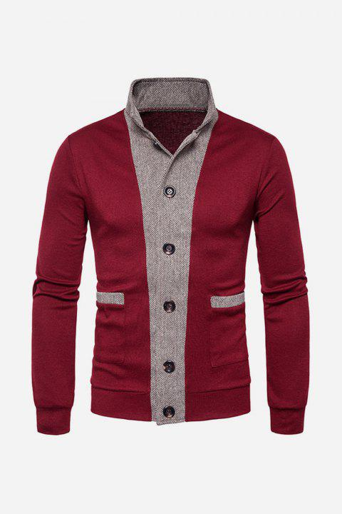 Button Up Color Block Panel Cardigan - WINE RED 2XL