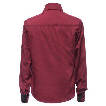 Trendy Checked Sutures Design Shirt Collar Long Sleeve Slimming Men's Polyester Shirt - WINE RED M