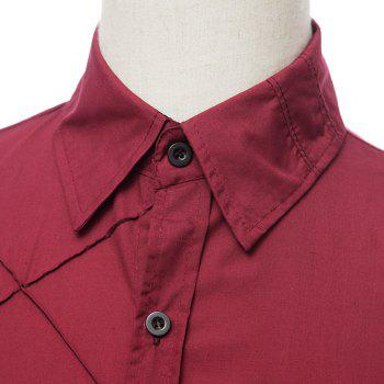 Trendy Checked Sutures Design Shirt Collar Long Sleeve Slimming Men's Polyester Shirt - WINE RED WINE RED