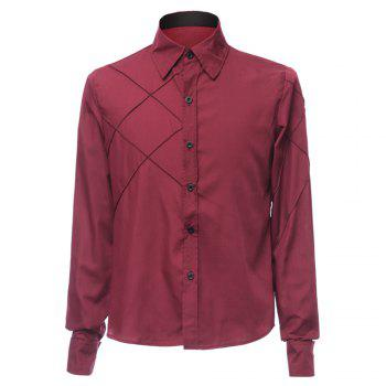 Trendy Checked Sutures Design Shirt Collar Long Sleeve Slimming Men's Polyester Shirt - WINE RED 3XL