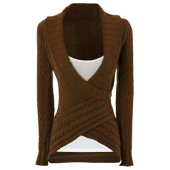 Chic Long Sleeve Turn-Down Neck Asymmetrical Women's Sweater