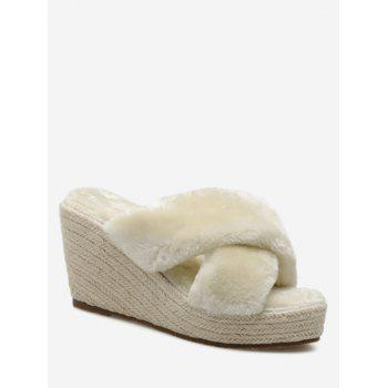 Criss Cross Faux Fur Wedge Heel Slippers - APRICOT 35