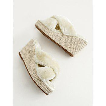 Criss Cross Faux Fur Wedge Heel Slippers - APRICOT 36