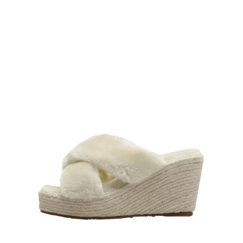 Criss Cross Faux Fur Wedge Heel Slippers - APRICOT 39