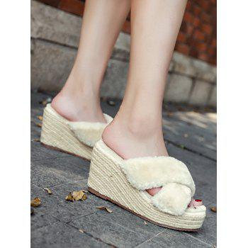 Criss Cross Faux Fur Wedge Heel Slippers - 39 39