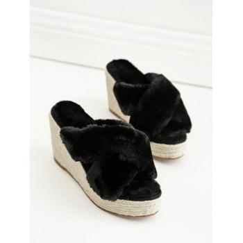 Criss Cross Faux Fur Wedge Heel Slippers - BLACK BLACK