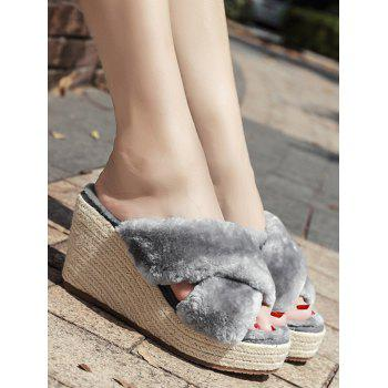 Criss Cross Faux Fur Wedge Heel Slippers - GRAY GRAY