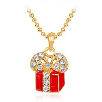 Gift Box Rhinestone Pendant Necklace - RED RED