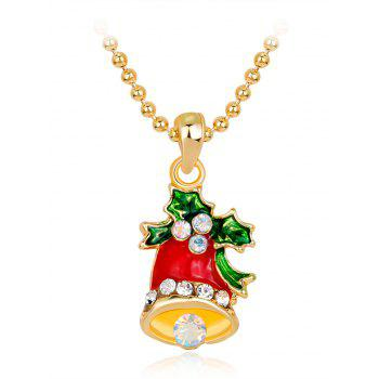 Rhinestone Christmas Bell Pendant Necklace - RED RED
