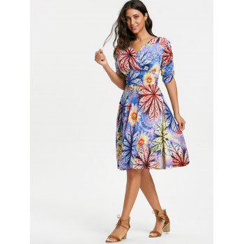 V Neck Floral Print Mid Surplice Dress - Pourpre L
