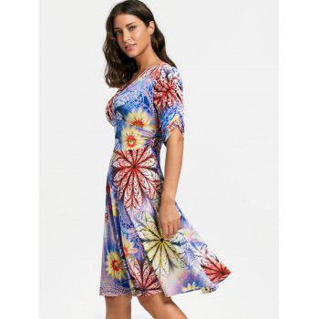 V Neck Floral Print Mid Surplice Dress - Pourpre 2XL