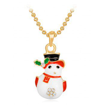 Christmas Snowman Pendant Necklace With Snowflake Design - WHITE WHITE