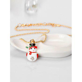 Christmas Snowman Pendant Necklace With Snowflake Design -  WHITE