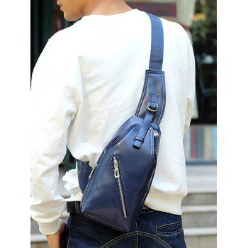 Zippers Faux Leather Front Crossbody Bag -  BLUE