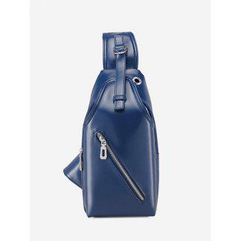 Zippers Faux Leather Front Crossbody Bag - BLUE BLUE