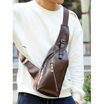 Zippers Faux Leather Front Crossbody Bag -  BROWN