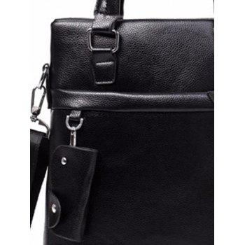 Metal Faux Leather Crossbody Bag with Key Case - BLACK