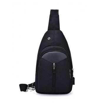 USB Charging Port Headphone Hole Chest Bag - BLACK