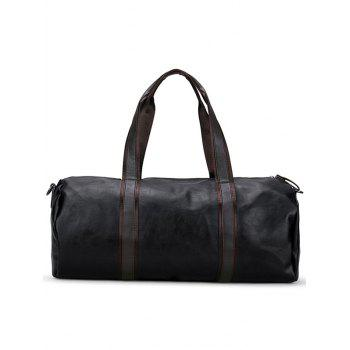 PU Leather Weekend Bag - BLACK