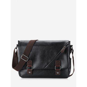 PU Leather Double Buckle Straps Crossbody Bag