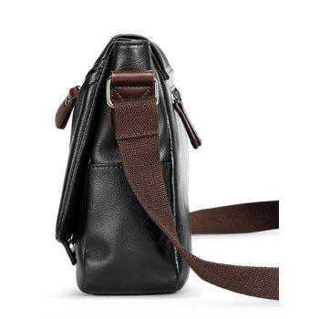 PU Leather Double Buckle Straps Crossbody Bag -  BLACK
