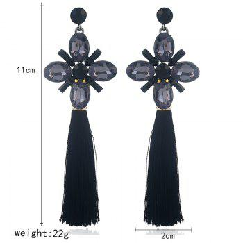 Vintage Faux Crystal Tassel Floral Earrings -  BLACK
