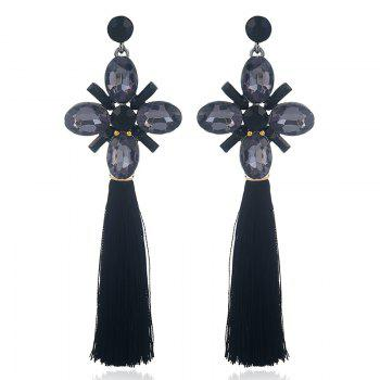 Vintage Faux Crystal Tassel Floral Earrings - BLACK BLACK