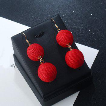 Double Ball Hook Earrings - RED RED