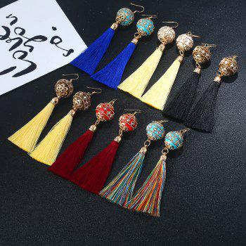 Rhinestone Vintage Ball Tassel Hook Earrings -  RED