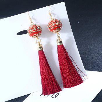 Rhinestone Vintage Ball Tassel Hook Earrings - RED RED