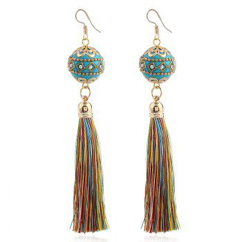 Rhinestone Vintage Ball Tassel Hook Earrings - COLORMIX COLORMIX