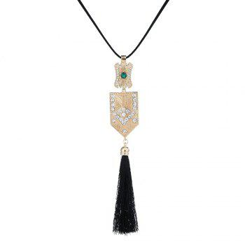Vintage Rhinestone Geometric Tassel Pendant Necklace -  GOLDEN