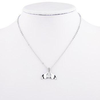 Rhinestone Fishtail Pendant Collarbone Necklace -  SILVER