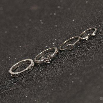 10 Pcs Bohemia Shield Arrow Rings - SILVER