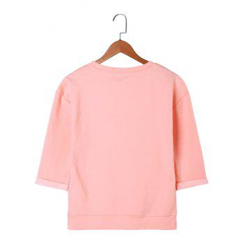 Letter Embroidery T-shirt - LIGHT PINK 2XL