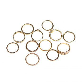 Alloy Circle Engraved Finger Ring Set -  GOLDEN
