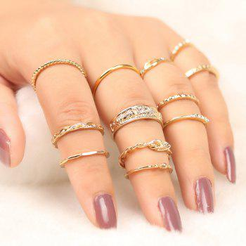 Alloy Circle Engraved Finger Ring Set - GOLDEN GOLDEN