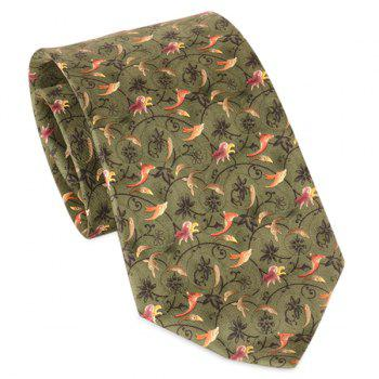 Animal and Flower Vine Printed 9CM Width Tie - GRASS GREEN GRASS GREEN